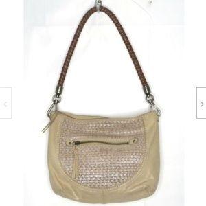 The Sak Beige Leather Hobo Shoulder Bag